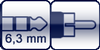 Klinke 3p. 6,3mm<br>Cinch