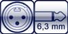 XLR 3p. male<br>Winkel-Kl. 2p. 6,3mm