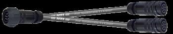 MTI LS-Breakout-Cable, 4x4,0 mm², PACOM 8p.male m.Ü., 2x fem. o.Ü. DO-Y 1, 1,0 m