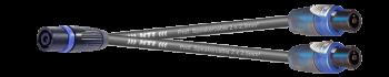 MTI LS-Y-Adapter, 2x2x2,5mm², Metall-Speakon fem. 4p. auf 2x NL4FX, 2,5 m