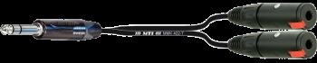 Y-Cable, Neutrik Klinke 3p. / 2x Kl.-Buchse 3p. sw.